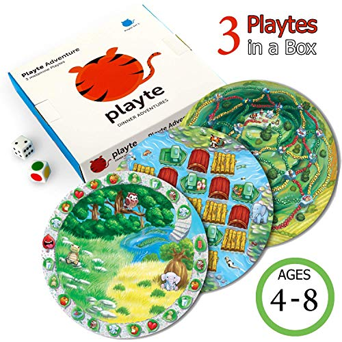 Playte - Dinner Plate Kids Game, Set Of 3 - Perfect for Difficult Picky Eaters - Turn dinner Time Into Play Time. Fun Educational Activity Keeping the children Focus on Food. BPA Free (Adventure Game)