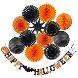 SUNBEAUTY Halloween Decoration Kit Party Banner Paper Fans Lanterns Honeycomb Balls for Halloween Party Birthday Event Decorations Black Orange 13Pcs