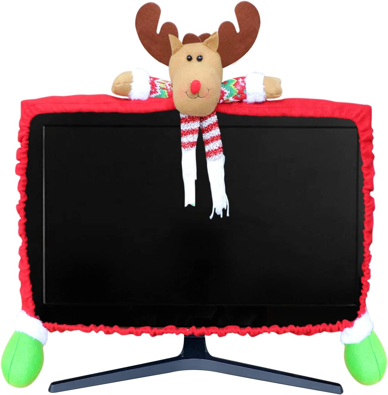 MNKXL Christmas Monitor Cover 3D Elk Christmas Decoration Elastic Adjustable Computer Monitor Cover for Home Office Decor Laptop Display Dustproof Cover Monitor Screen Protector