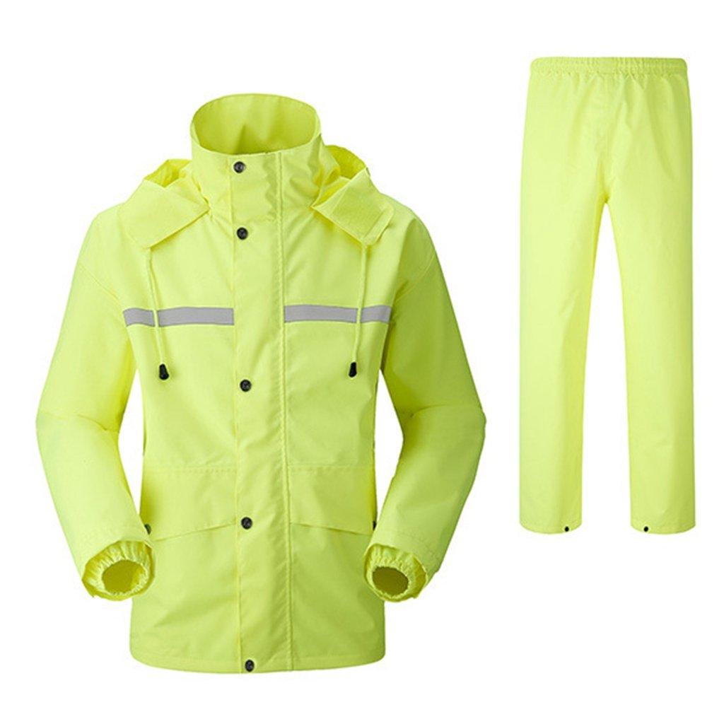 レインコート 上下セット 男女兼用 レインスーツ 通湿性 防水 軽量 二重構造 メッシュ付き 快適 高品質 自転車 バイク 通学 通勤に対応 アウトドア 全5色 Mー4XL B07D5QHP61 L|グリーン グリーン L