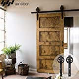 WINSOON Single Wood Sliding Barn Door Hardware Basic Black Big Spoke Wheel Roller Kit Garage Closet Carbon Steel Flat Track System (6FT)
