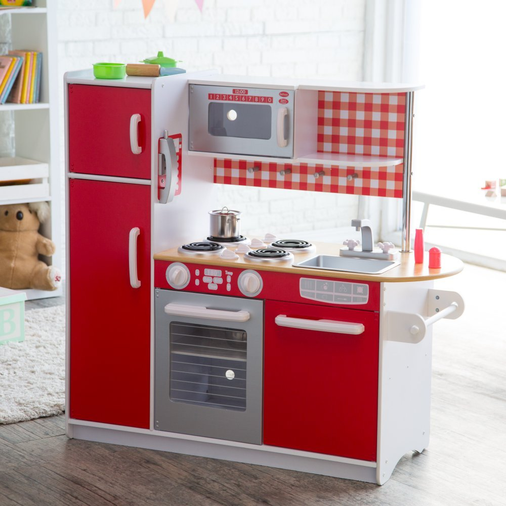 Toy kitchen set wooden pretend play appliance by kidkraft gives your children hours of fun unique red super chef play kitchen great for boys girls