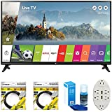 LG 49 Class Full HD 1080p Smart LED TV 2017 Model (LG49LJ5500) with 2 x 6ft High Speed HDMI Cable, Screen Cleaner for LED TVs & Transformer Tap USB w/6-Outlet Wall Adapter and 2 Ports