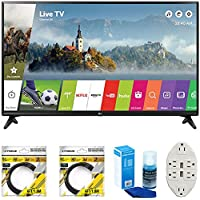 LG 49 Class Full HD 1080p Smart LED TV 2017 Model (LG49LJ5500) with 2x 6ft High Speed HDMI Cable, Screen Cleaner for LED TVs & Transformer Tap USB w/ 6-Outlet Wall Adapter and 2 Ports