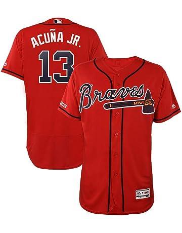 2a9279d0 VFs Men's Atlanta Braves Ronald Acuña Jr #13 Flex Base Player Red Alternate  Jersey