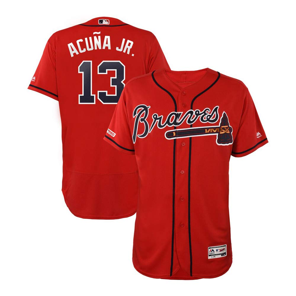 official photos 39a8f ae73a VFs Men's Atlanta Braves Ronald Acuña Jr #13 Flex Base Player Red Alternate  Jersey