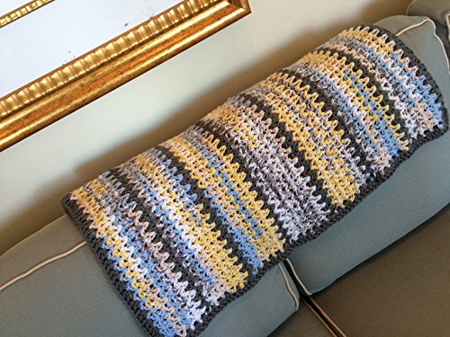 Yellow, light blue, white with charcoal bulky handmade crocheted afghan