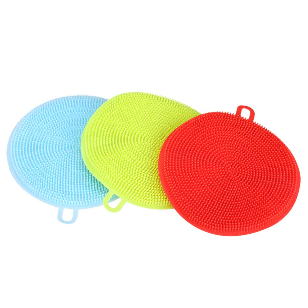 Unilive Silicone Dish Brush Reusable Double-Sided Antibacterial Silicone cleaning brush Scrubber, Household Kitchen Cleaning Supplies for Washing Dishes Pans Cups Fruits Vegetables - 3Pack