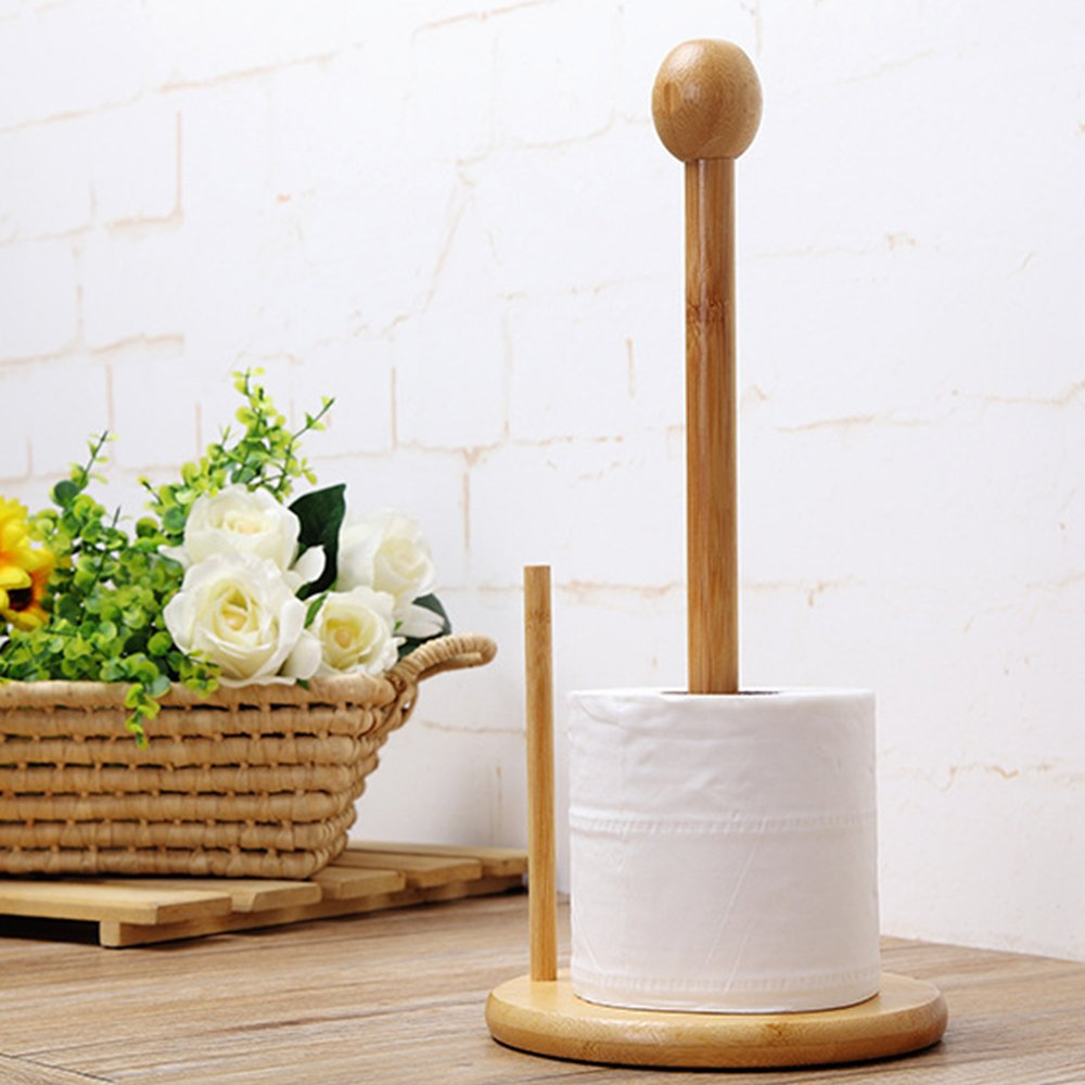 yazi Toilet Paper Holder Stand Solid Bamboo Tissue Holder Stand for Bathroom Storage happyess2014 005336