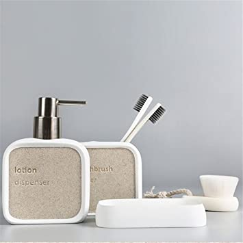 ZDDT Accesorios de baño, Hechos de Resina, con dispensador de jabón, Taza de