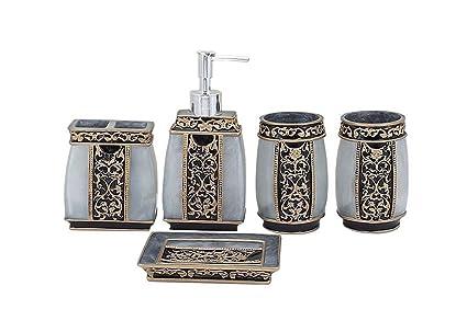 Yiyida Juego de baño de Resina Estilo rústico 5 Piezas de Accesorios de baño  dispensador de d7eeb8a9a4a8