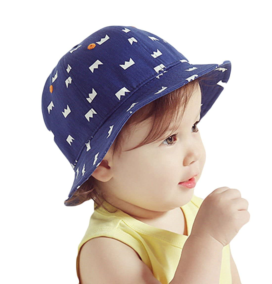 95e7a0cf Amazon.com: Baby Toddler Kids Sun Hat with Chin Strap, Adjustable Head  Size, 50+ UPF Cotton: Clothing