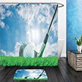 Vanfan Bathroom 2Suits 1 Shower Curtains & 1 Floor Mats white golf ball and iron club on green artificial grass and cloudy blue sky with shining sun in the 364090898 From Bath room