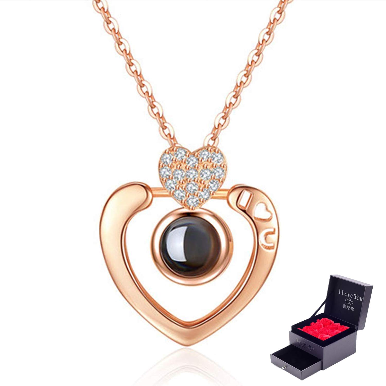 Feili Woman Necklace Love Memory 925 Silver Projection Pendant 100 Languages I Love You to Lover Grilfriend XL012
