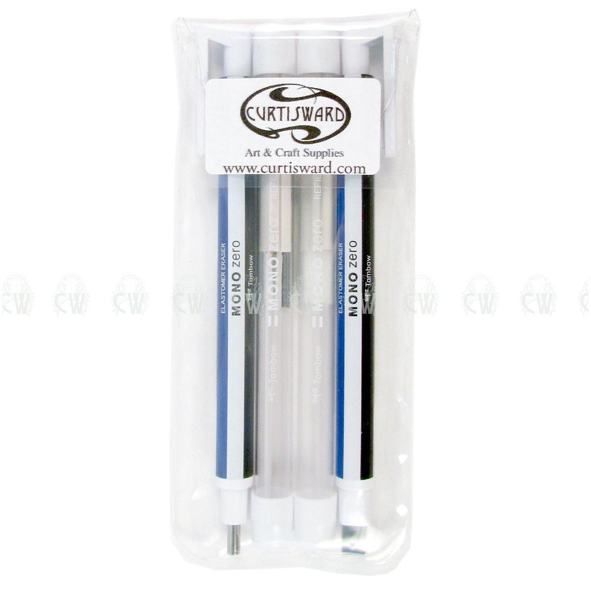 Curtisward Wallet White Set of Tombow Mono Zero Erasers. Artists Precision Eraser Pen.