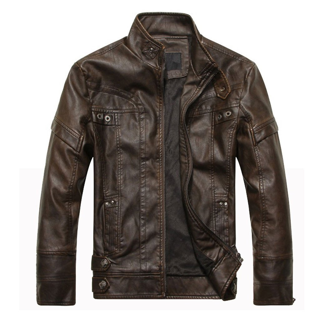 OCHENTA Men's Slim-fit Motorcycle Faux Leather Jacket with Removable Hood