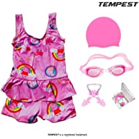 TEMPEST Girls Swimming Kit with Swimming Costume Swimming Goggles Silicone Swimming Cap Ear Plug and Nose Plug