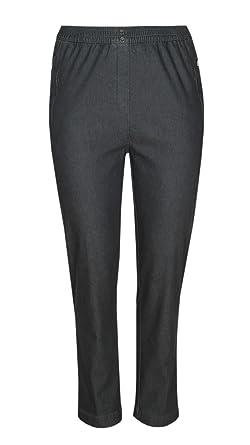 d382d8c2d258bf Damen Thermo Stretch Schlupfjeans Schlupfhose gefütterte Winter-Jeans in K- Größe-Grau-
