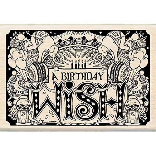 Inkadinkado Wood Stamp, Patterned Happy Birthday by Inkadinkado