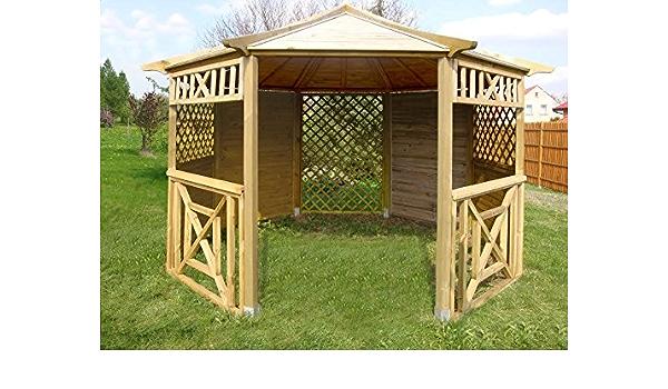 Cenador de madera octogonal para jardín, diámetro de 3,5 m