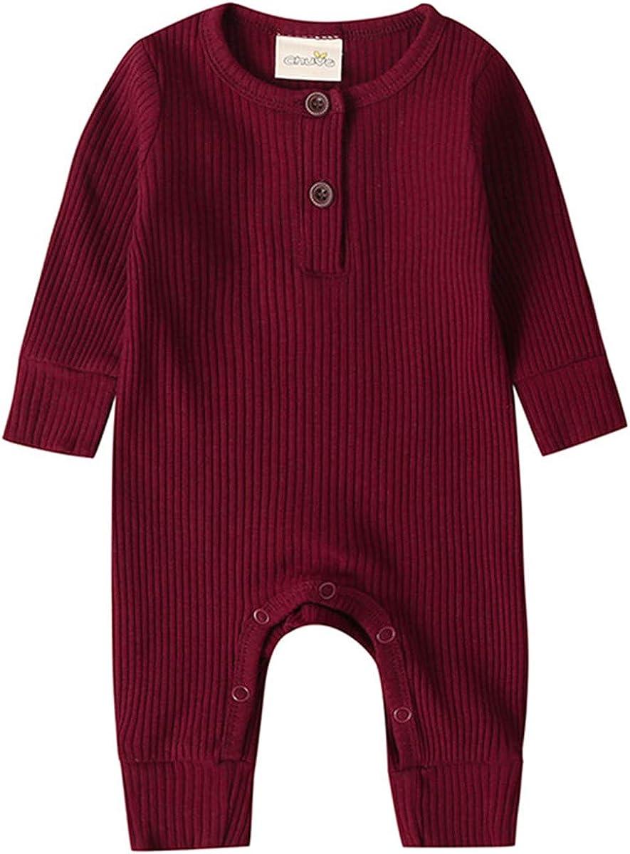 Kuriozud Newborn Infant Unisex Baby Boy Girl Button Solid Romper Bodysuit One Piece Jumpsuit Outfits Clothes