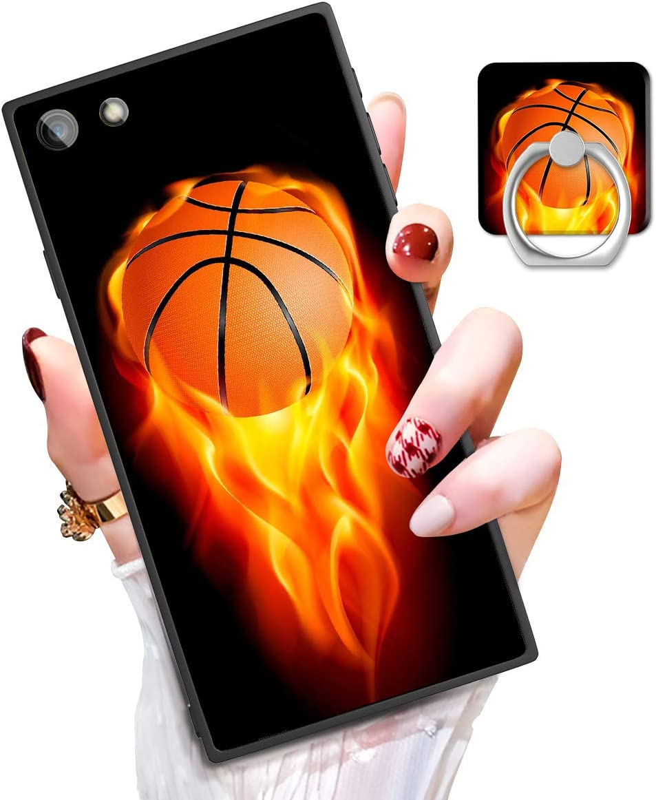 """Square iPhone 6s Case, iPhone 6 case with Kickstand Ring Holder, Basketball Design Shockproof Sturdy TPU + PC Rubber Silicone Black Phone Case Cover Protective for iPhone 6s/iPhone 6 4.7"""""""