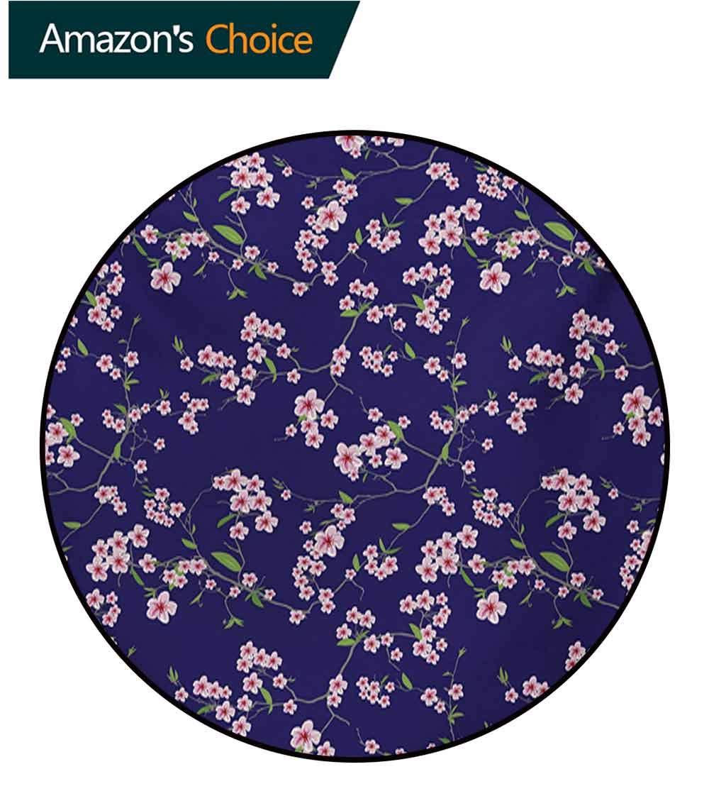 RUGSMAT Japanese Machine Washable Round Bath Mat,Blooming Sakura Cherry Branches Chinese Asian Oriental Kimono Pattern Non-Slip No-Shedding Bedroom Soft Floor Mat,Diameter-71 Inch by RUGSMAT (Image #3)