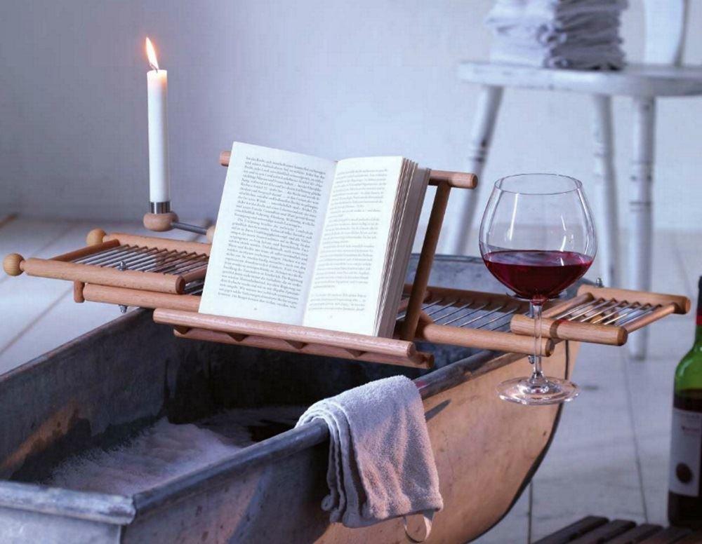 Redecker Beechwood Extendable Bath Tub Shelf Rack Tray with Book ...