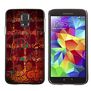 LECELL--Funda protectora / Cubierta / Piel For Samsung Galaxy S5 SM-G900 -- Abstract Checkered Indian Pattern Maroon --