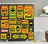 Outer Space Decor Shower Curtain by Ambesonne, Warning Ufo Signs with Alien Faces Heads Galactic Paranormal Activity Design, Fabric Bathroom Decor Set with Hooks, 75 Inches Long, Yellow