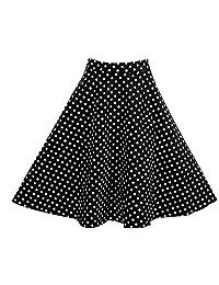 Yotown Vestido de Falda Vintage Retro Patrón Point Alta Cintura Vintage Falda Medium Largos Faldas Midi Ropa En Oferta (L-Negro)