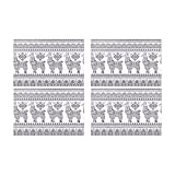 InterestPrint Cute Alpaca Llama Animal with Ethnic Ornaments Washable Polyester Fabric Placemat Plate Mat Holder Set of 4, Heat Insulation Resistant Table Mats Protector 12''x18''
