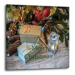 3dRose Christmas - Image of Country Gifts Under Tree On Wooden Floor - 13x13 Wall Clock (dpp_290330_2)