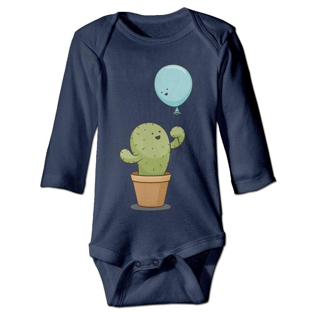 Infant Cactus Hold A Ballon Long Sleeve Romper Onesie Bodysuit Jumpsuit