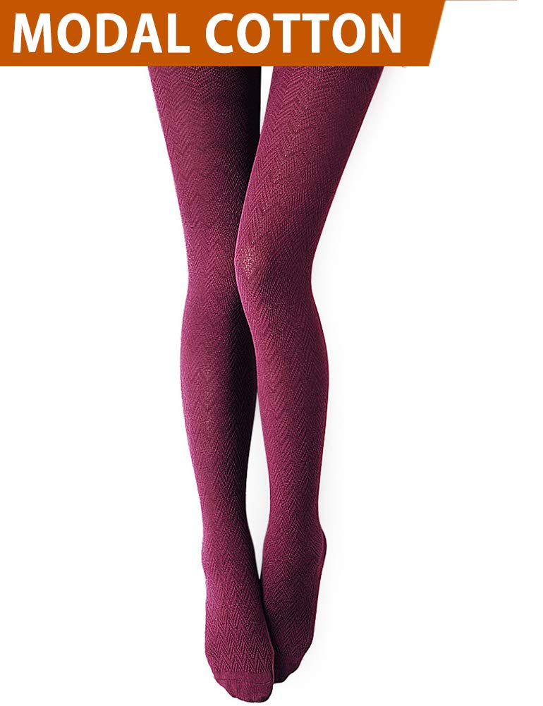 Vero Monte 1 Pair Women's Modal & Cotton Opaque Knitted Patterned Tights (Wine) 40951