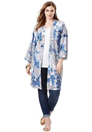 7e73a81ee7561 Roamans Women s Plus Size Printed Jacket at Amazon Women s Clothing ...
