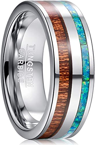 8MM Tungsten Steel Turquoise Band Men/'s Wedding Party Engagement Ring Size 7-12