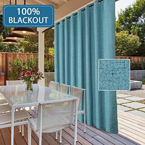 "100% Blackout Drapes for Sliding Glass Door- Waterproof Faux Linen Door Blinds Anti Rush Grommets Patio Door Curtains Extra Long and Wide for Indoor/ Ourdoor (Teal, 100""W x 96""L/8.3'W x 8'L) from H.VERSAILTEX"