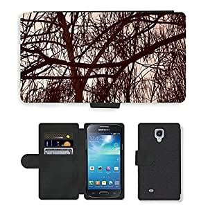 Hot Style Cell Phone Card Slot PU Leather Wallet Case // M00150597 Trees Sepia Branches Leaves Woods // Samsung Galaxy S4 Mini i9190