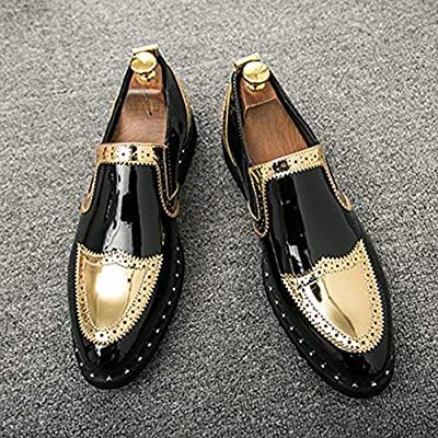 NDHSH Zapatos de Vestir para Hombres Brogues Mocasines Zapatos de Cuero de Microfibra Deslizamiento en los Zapatos Formales Casual Gold Business Wedding Party Zapatos de Novio,Gold-38: Amazon.es: Hogar