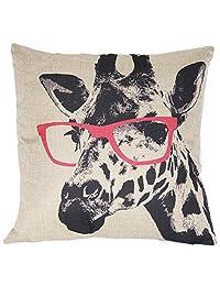 Decorative Giraffe Pattern Pillow Cushion Cover Personalized Linen Cloth Pillowcase