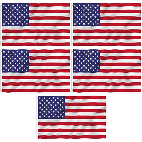 5 Pack – 3×5 ft. 100% Polyester Sharp and Vivid Color Outdoor USA Flag American Flag Review