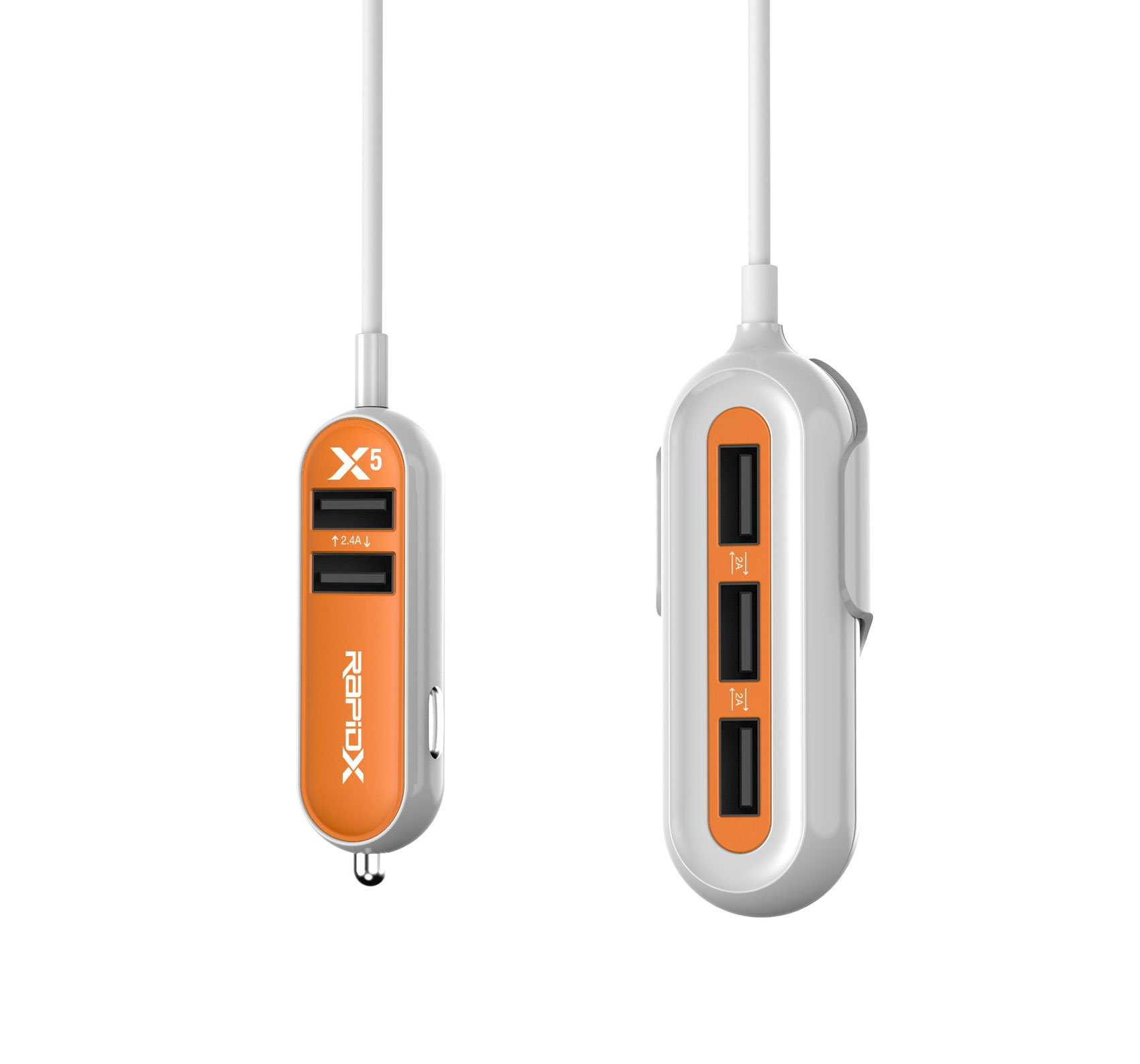 RapidX X5 Car Charger with 5 USB Ports for iPhone and Android Orange