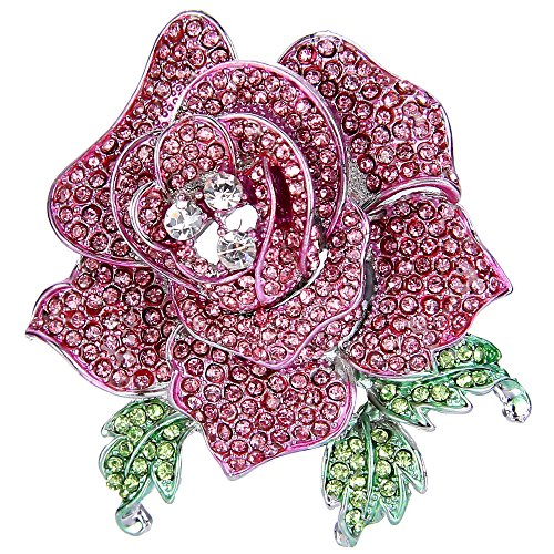 EVER FAITH Women's Austrian Crystal Blooming Beautiful Rose Flower Brooch Pink Silver-Tone