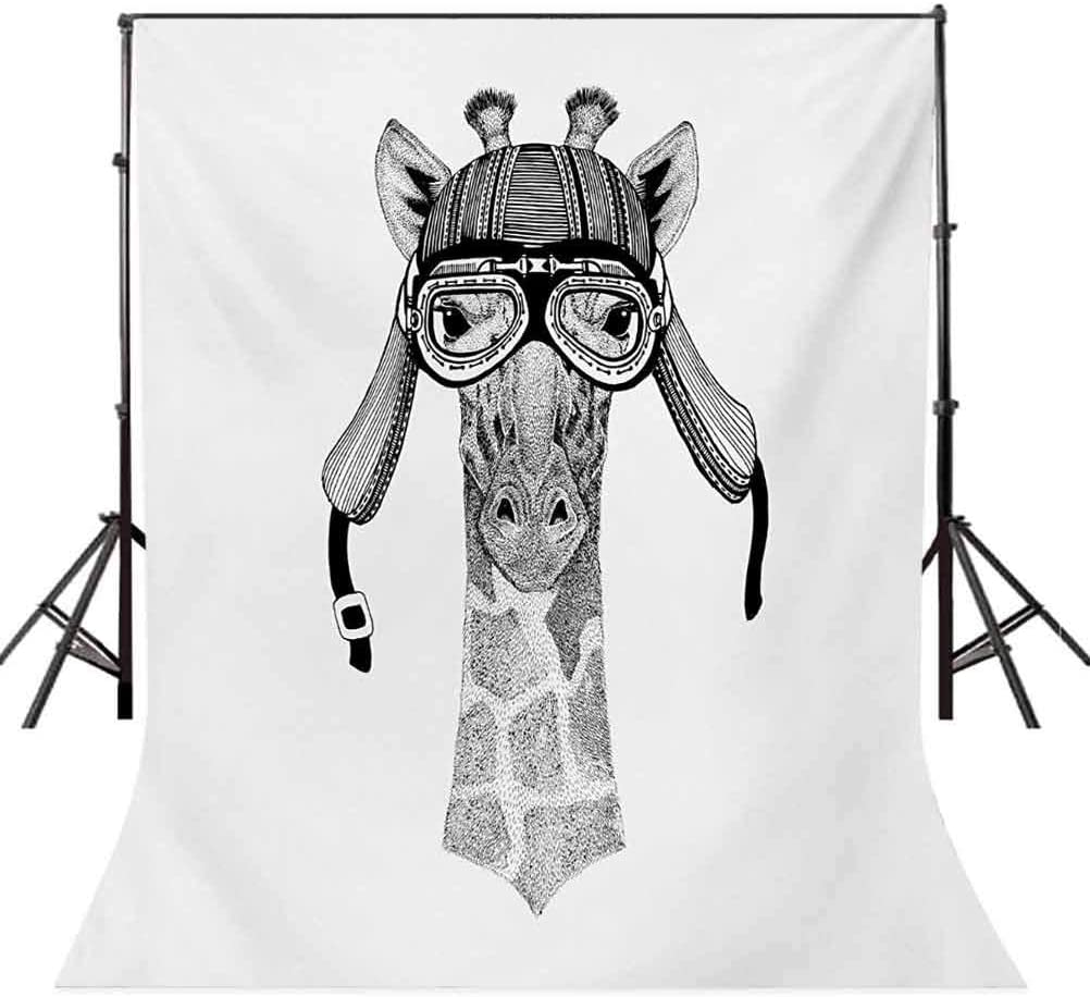 Giraffe 10x12 FT Photo Backdrops,Vintage Motorcycle Helmet Wearing Animal Monochrome Retro Influenced Character Background for Child Baby Shower Photo Vinyl Studio Prop Photobooth Photoshoot