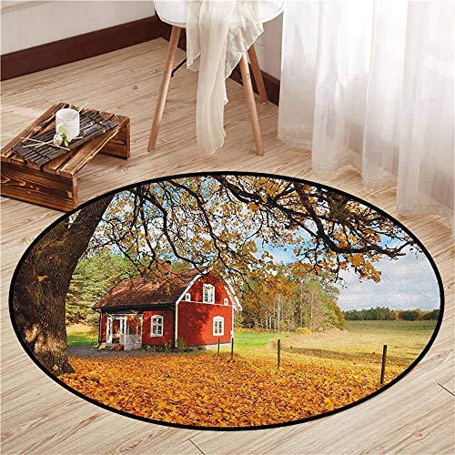 (Bedroom Rugs,Fall,Quaint Traditional Red Swedish House Tranquil Environment Cottage Countryside Woods,Sofa Coffee Table Mat,2'11