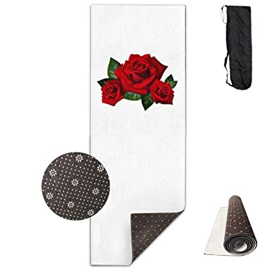 Amazon.com: Workout Mat for Yoga, Three 3D Roses -White ...