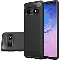 Rugged Armor Galaxy S10 Case with Flexible and Durable Shock Absorption with Carbon Fiber Design Hybrid Case Cover for Samsung Galaxy S10 (2019) (Black)