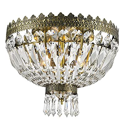 "Worldwide Lighting W33085B12 Metropolitan 3 Light Flush Mount Ceiling Light, Antique Bronze Finish Crystal, Round Small Fixture, 12"" D x 10"" H"