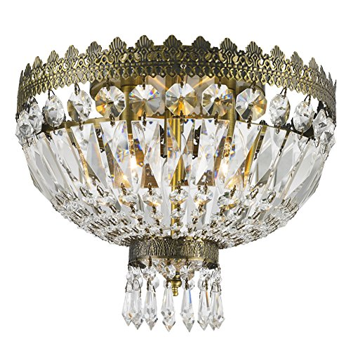 Worldwide Lighting W33085B12 Metropolitan 3 Light Flush Mount Ceiling Light, Antique Bronze Finish Crystal, Round Small Fixture, 12